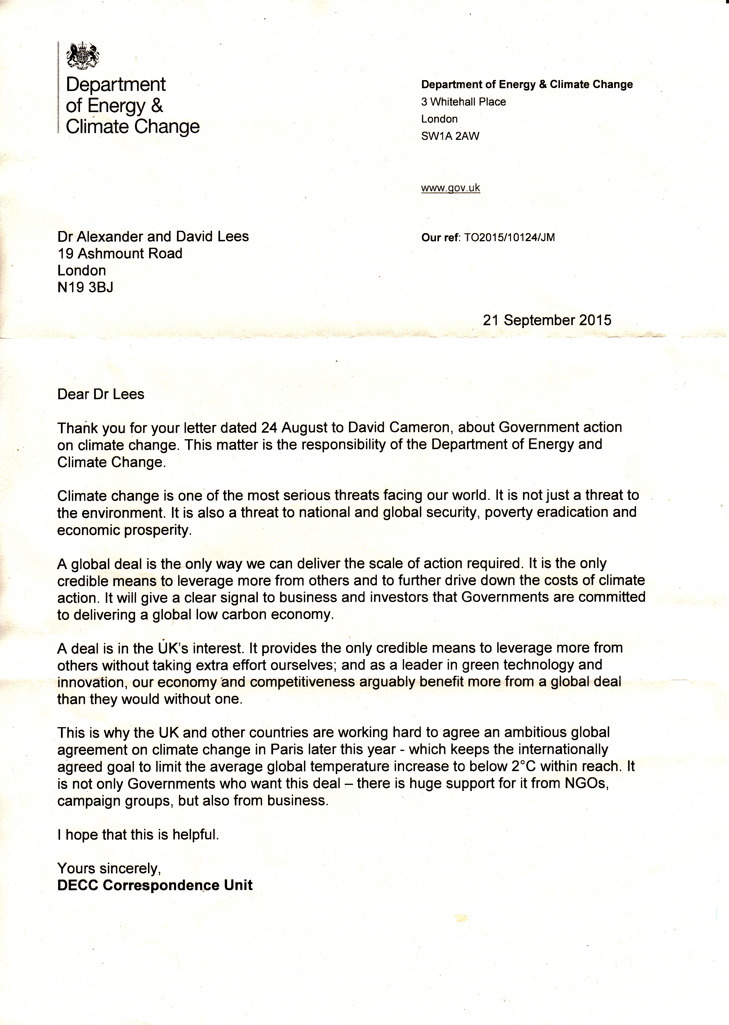 Lees reply from DECC 21 sept 2015